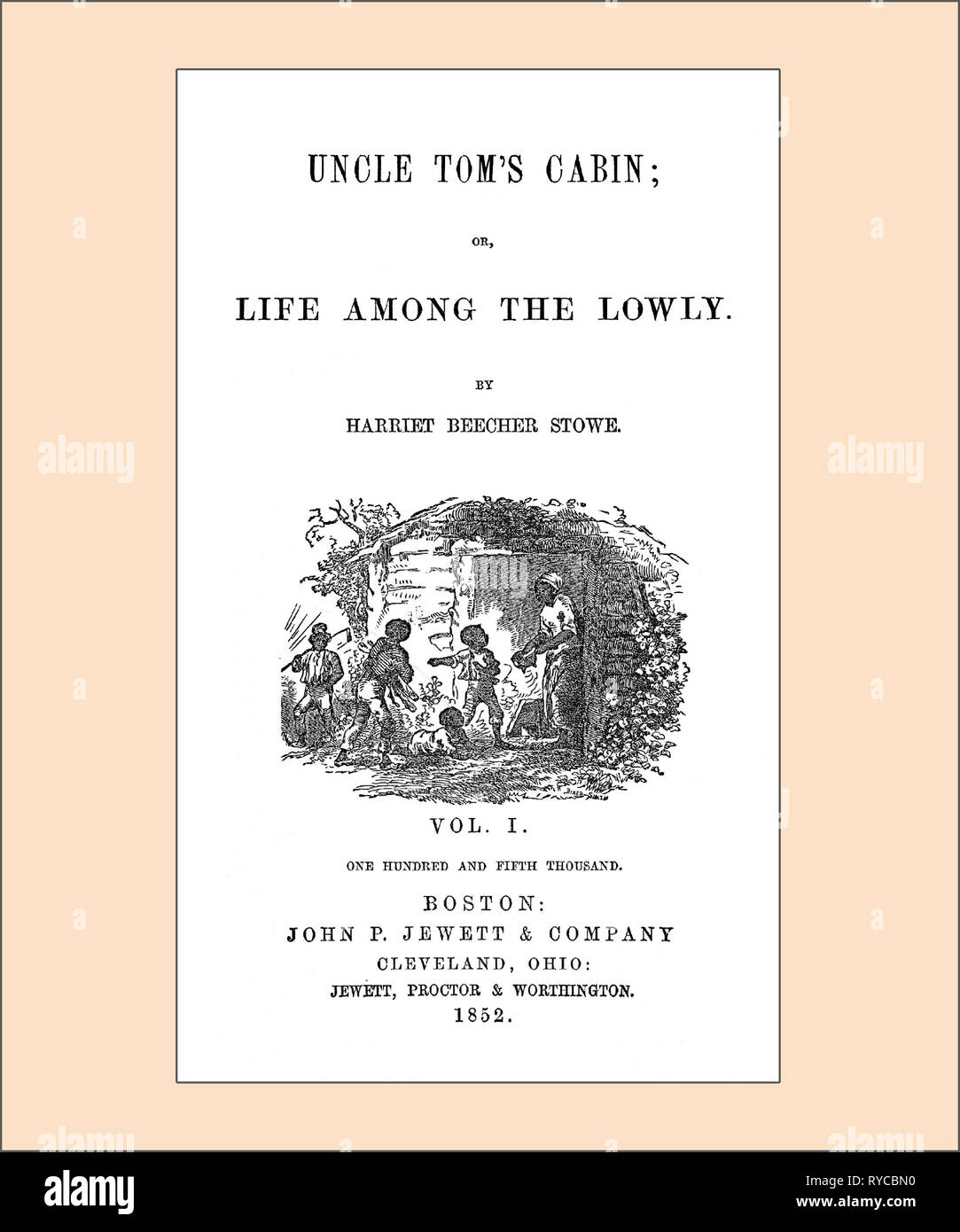 Uncle Tom's Cabin Title Page cleaned and re-set - Stock Image