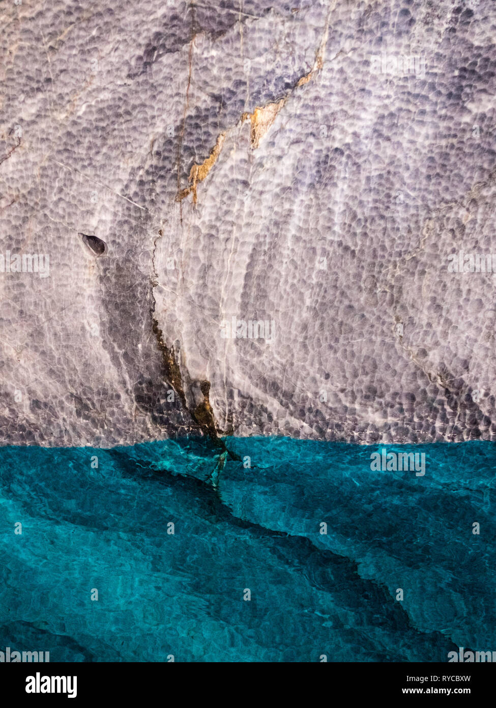 Detail of the marble cathedral in lake General Carrera with blue water, Patagonia of Chile. Carretera Austral - Stock Image