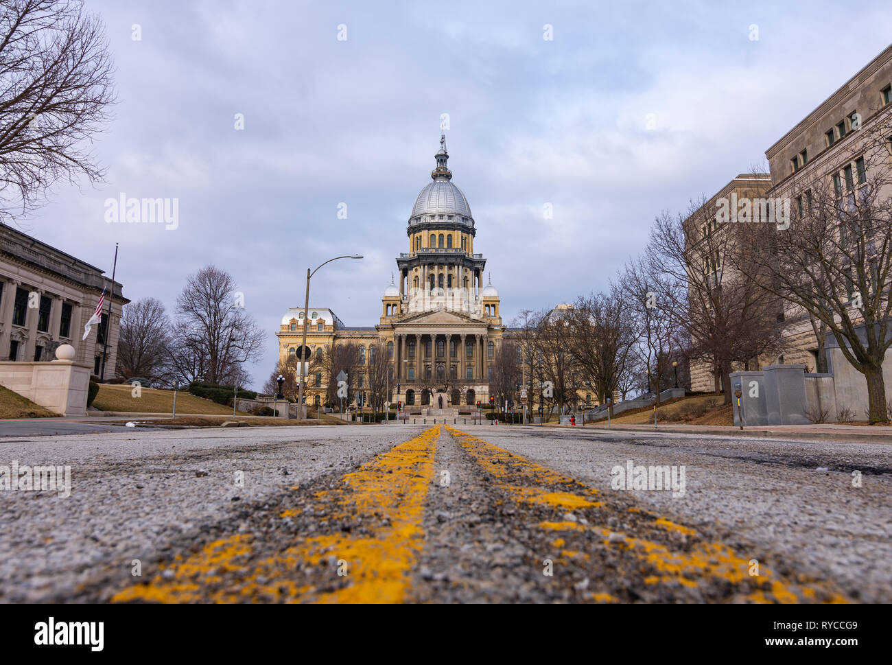 Rough road leading to the Illinois State Capitol Building.  Springfield, Illinois, USA. - Stock Image
