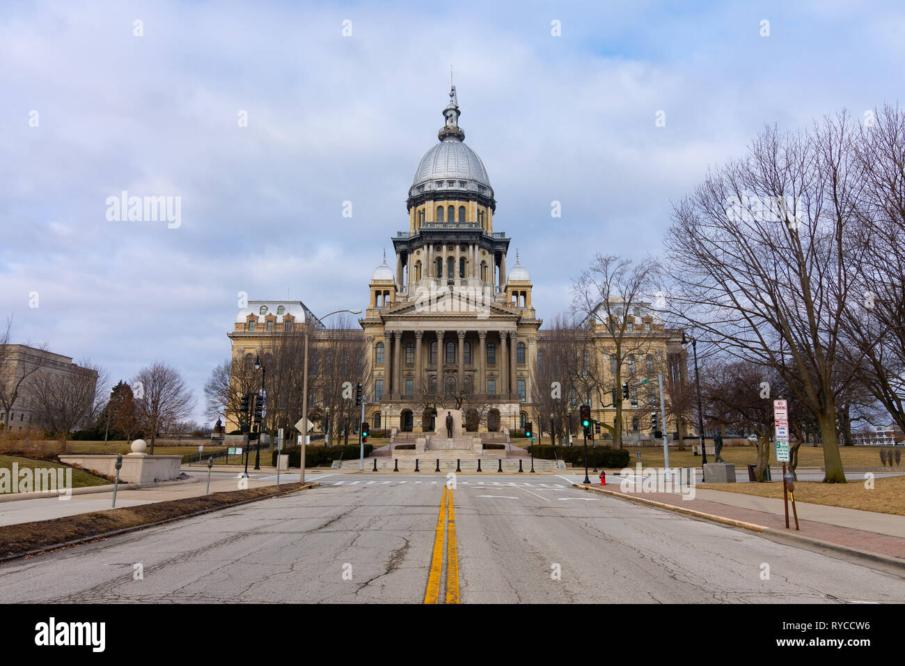Rough road leading to the Illinois State Capitol Building.  Springfield, Illinois, USA. Stock Photo