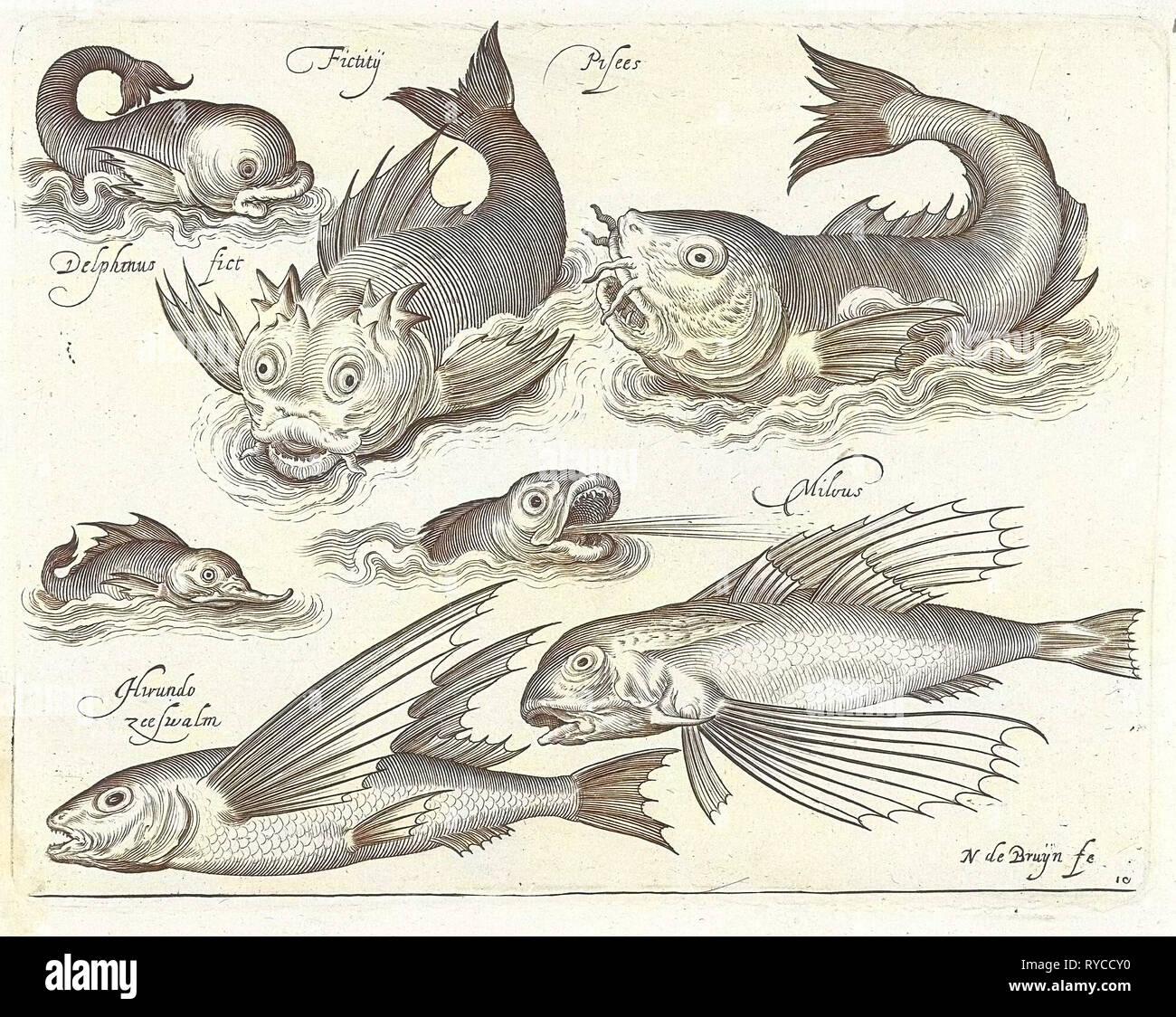 Fantastic invertebrates, including dolphin and dragonet, Nicolaes de Bruyn, 1581-1656 - Stock Image