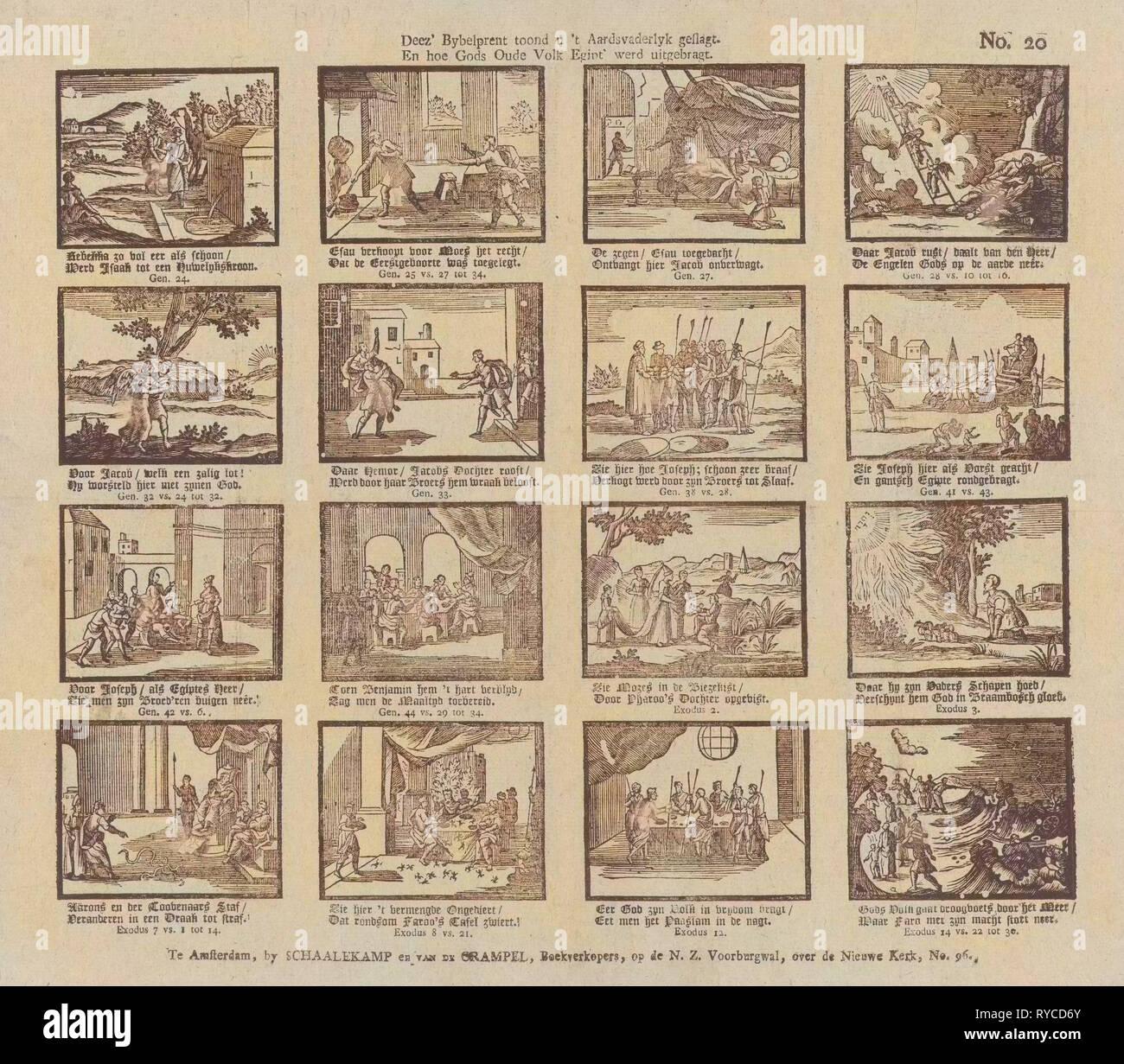 Biblical print. 'Deez' bybelprent toond u 't aardsvaderlyk geslagt / En hoe Gods oude volk Egijpt' werd uitgebragt', Schalekamp & Van de Grampel, Jacobus Wendel, Anonymous, 1795 - 1819 - Stock Image