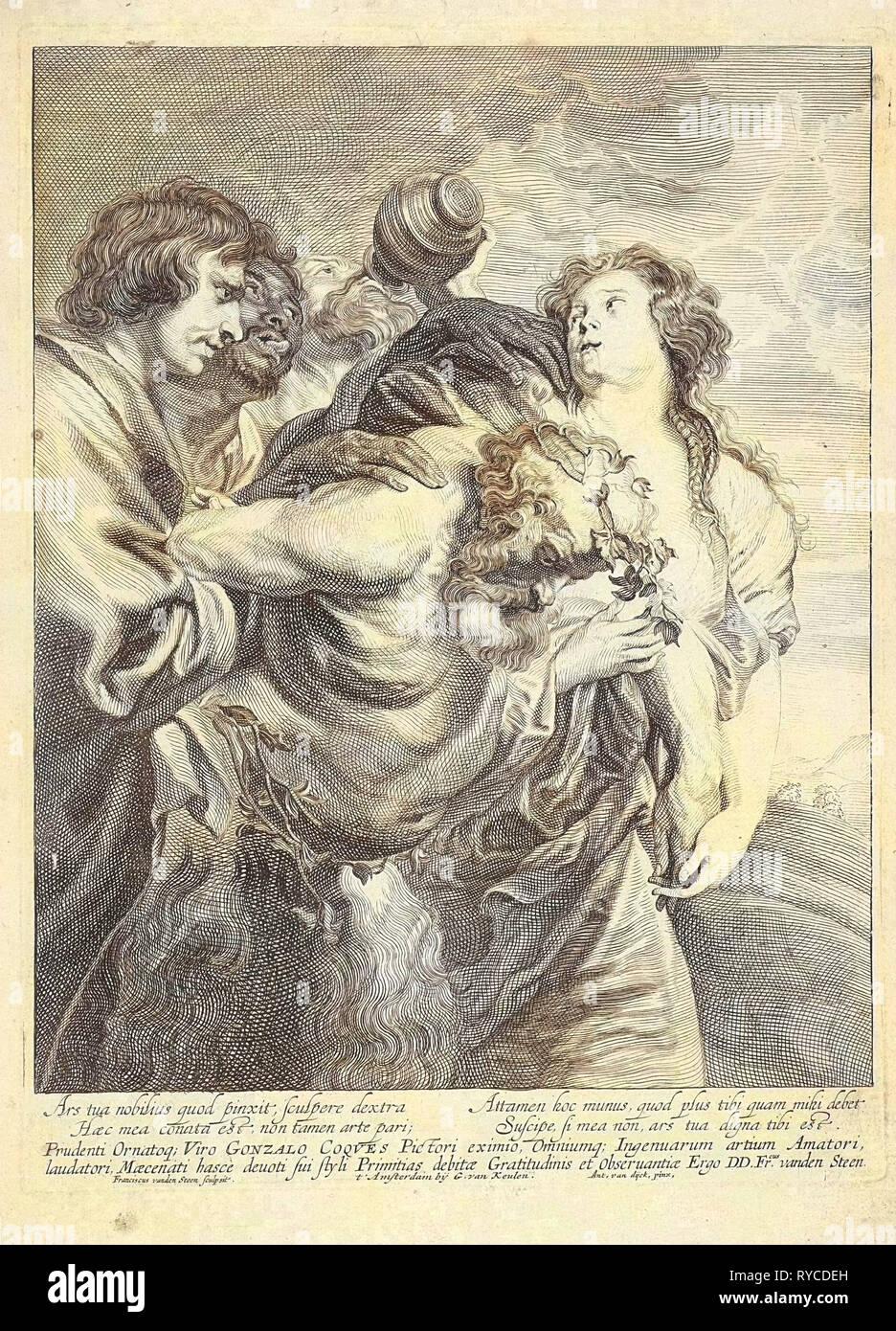Drunken Silenus supported by Bacchantes, Franciscus van der Steen, Gerard van Keulen, 1643 - 1672 Stock Photo