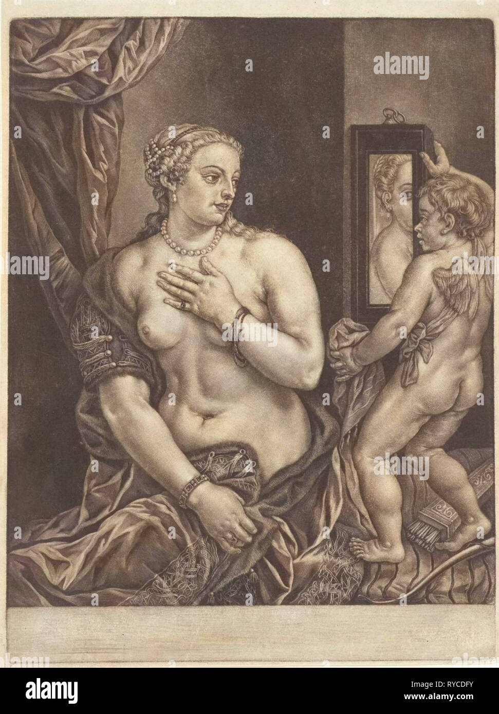 Venus and Cupid with a mirror, Anonymous, 1650 - 1800 - Stock Image