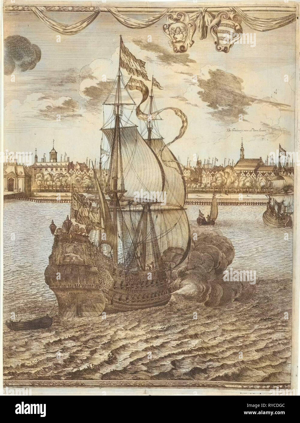 Panorama of Rotterdam, The Netherlands, print maker: attributed to Joost van Geel, Jan Houwens I, 1665 - Stock Image