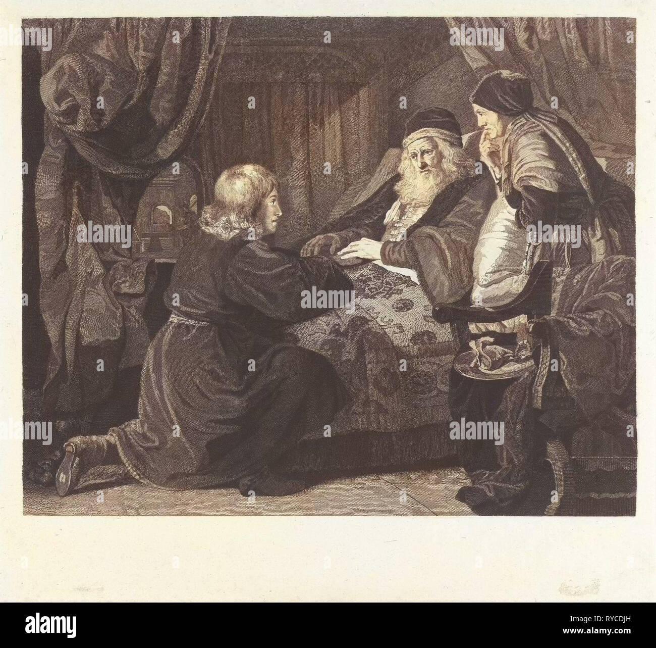 Isaac blesses Jacob, Lambertus Antonius Claessens, Le fort, Philips Koninck, c. 1829 - 1834 - Stock Image