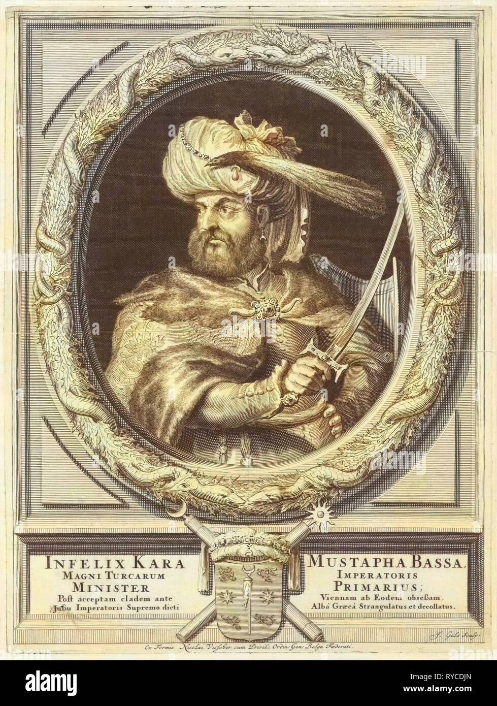 Portrait of Kara Mustafa Pasha, Jacob Gole, Nicolaas Visscher (II), Republiek der Zeven Verenigde Nederlanden, 1670 - 1724 - Stock Image