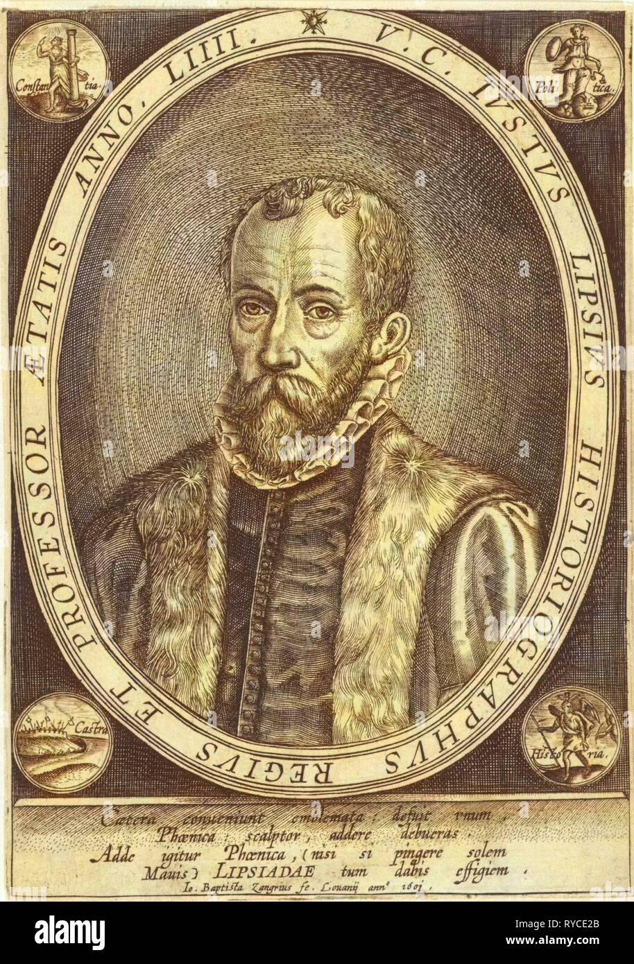Portrait of Justus Lipsius, Jan Baptist Zangrius, 1601 - Stock Image