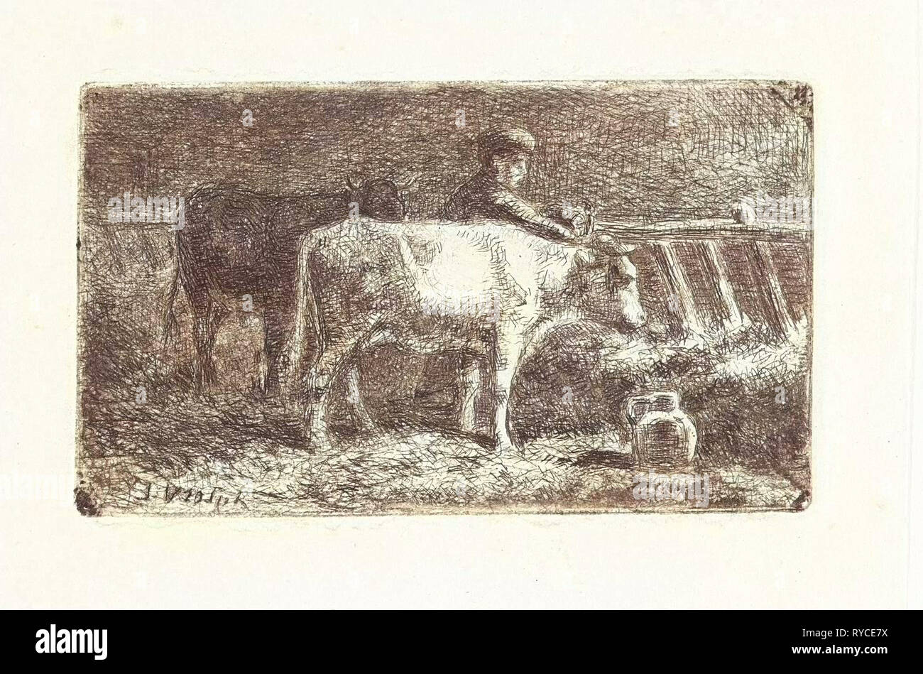 Farmer between two cows in a manger in a stable (small version), Jan Vrolijk, 1860 - 1894 - Stock Image