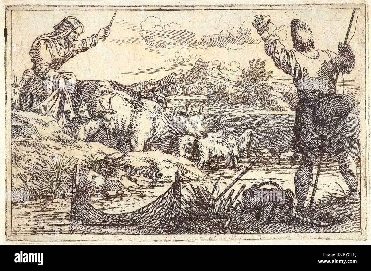 Fishing in river, print maker: Jan Baptist de Wael - Stock Image