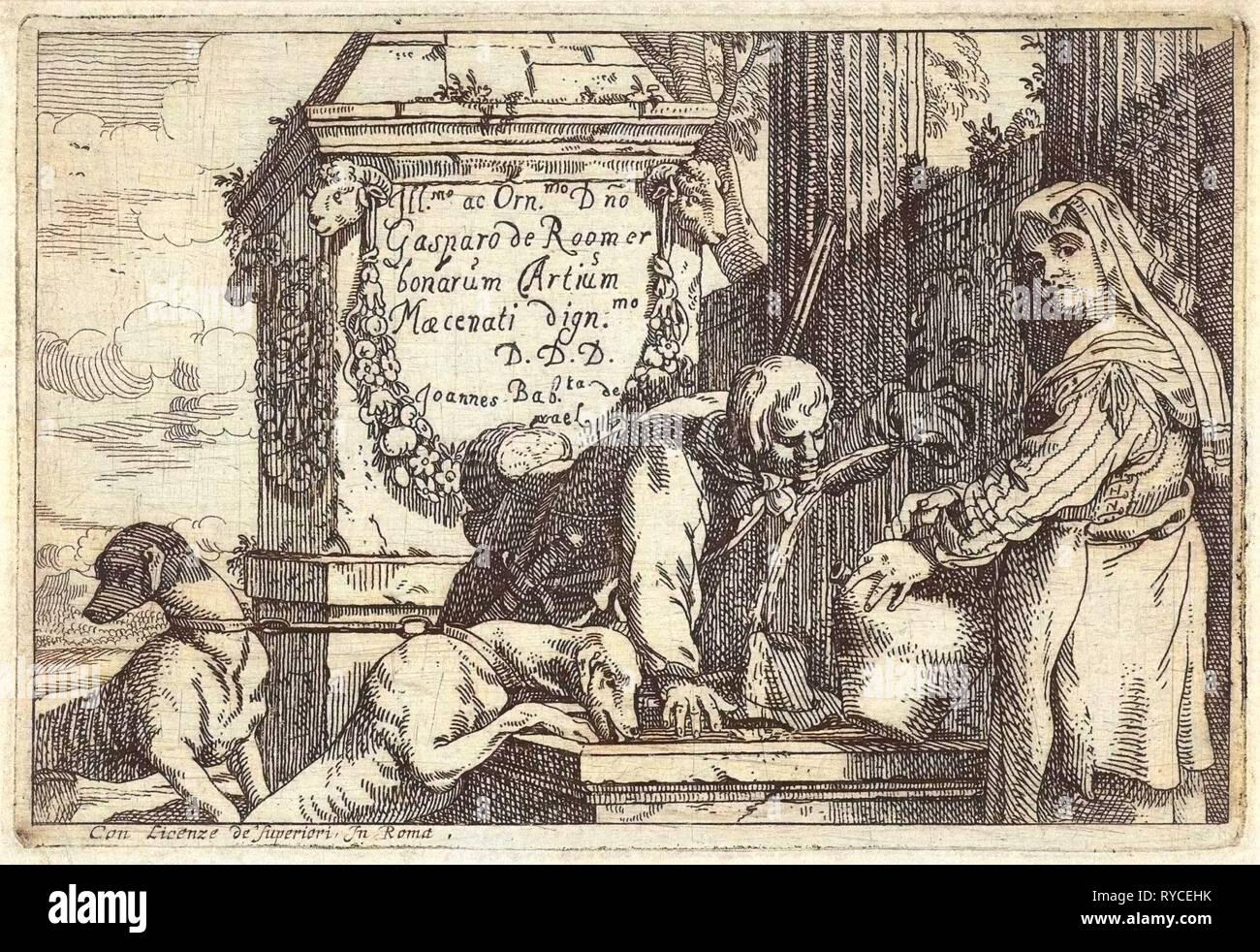 Hunter drinks from fountain, Jan Baptist de Wael, unknown, 1642 - 1669 - Stock Image