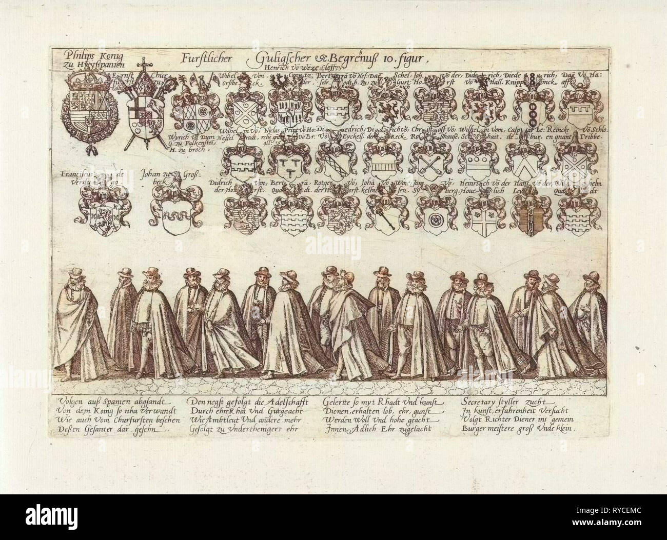 Funeral procession with peers, Anonymous, 1592 - Stock Image