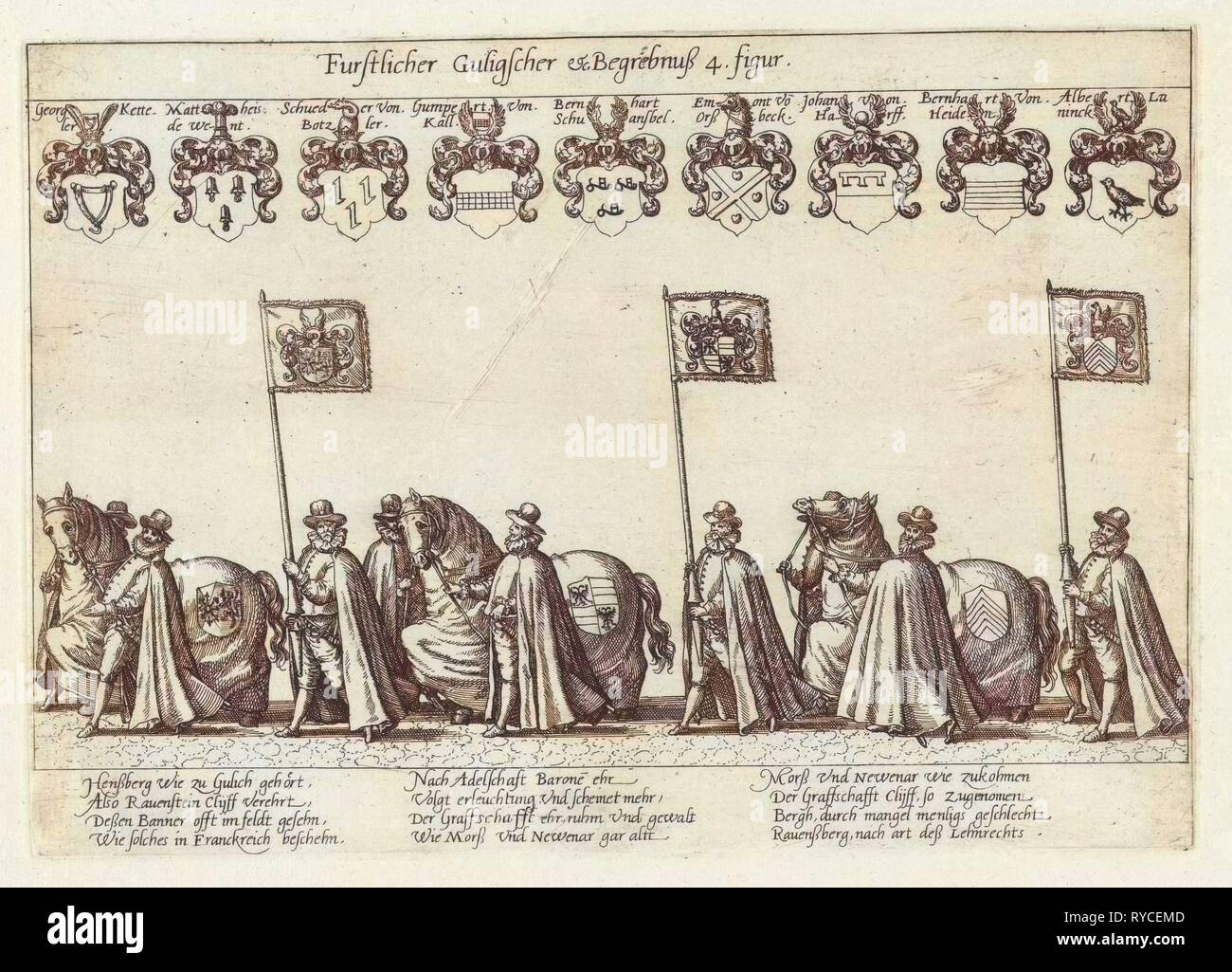 Funeral procession with horses and flag bearers, Anonymous, 1592 - Stock Image