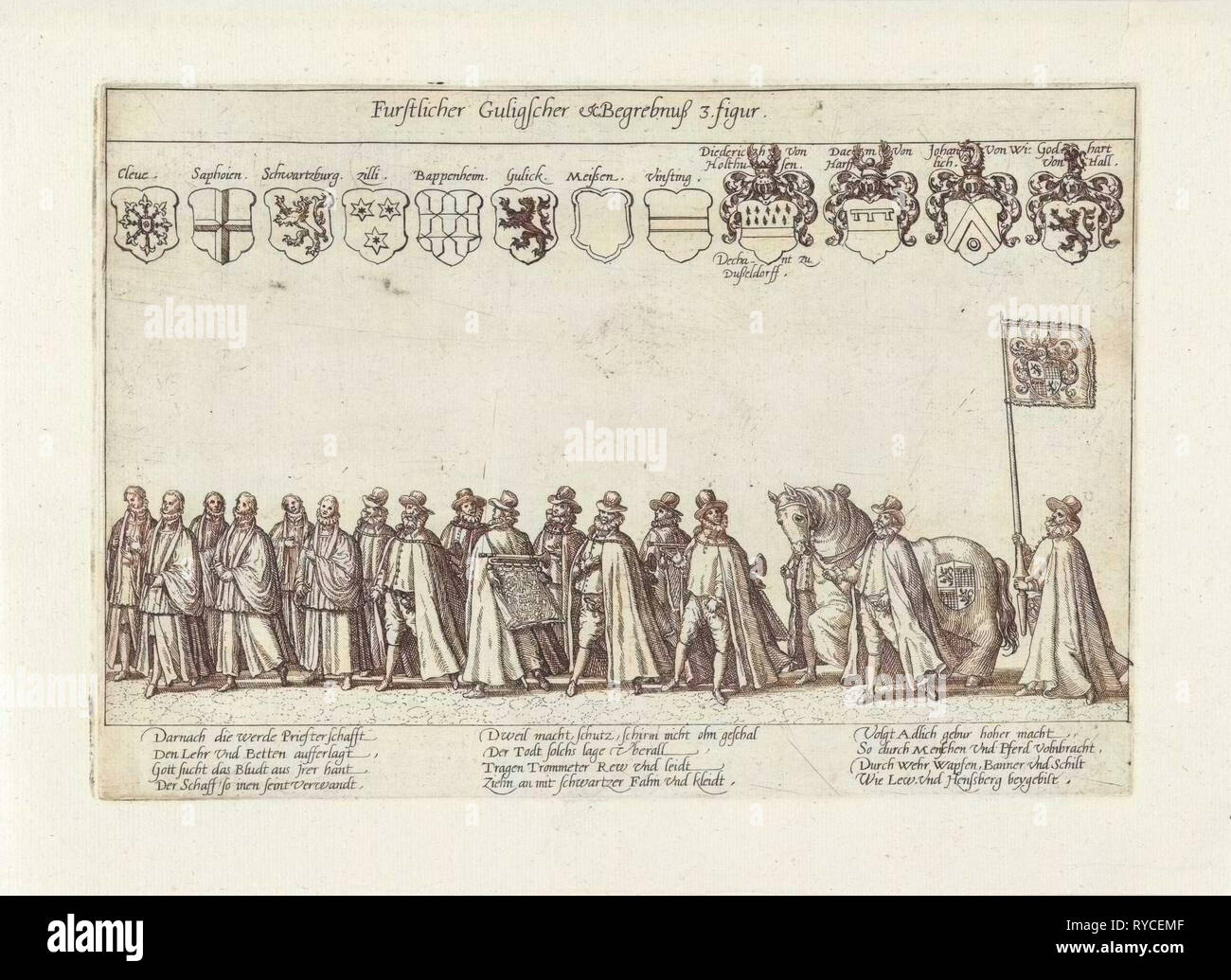 Funeral procession with scholars and nobles, Anonymous, 1592 - Stock Image