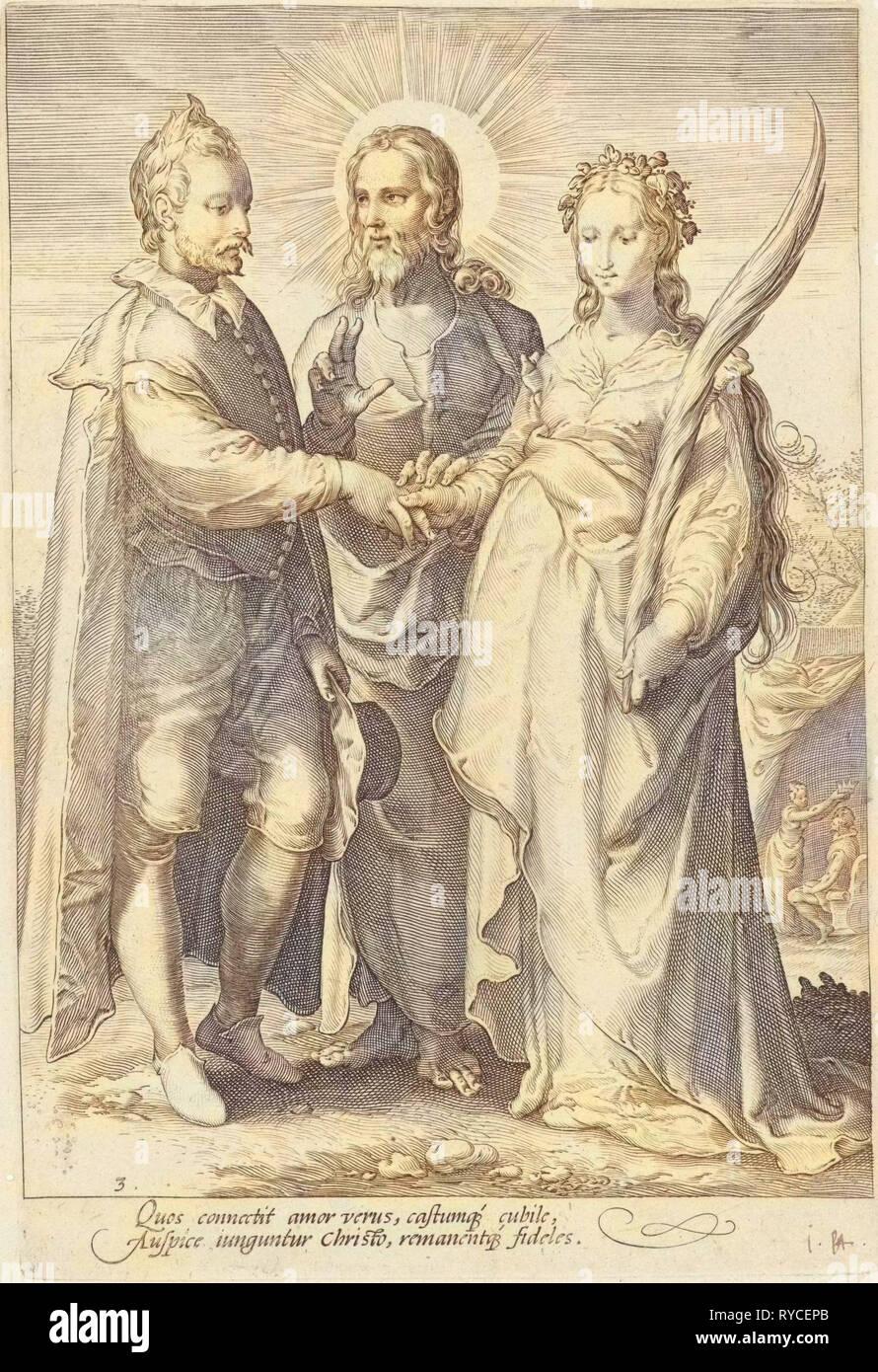 Marriage of spiritual love through Christ closed, Jan Saenredam, Hendrick Goltzius, Cornelius Schonaeus, 1575-1607 - Stock Image
