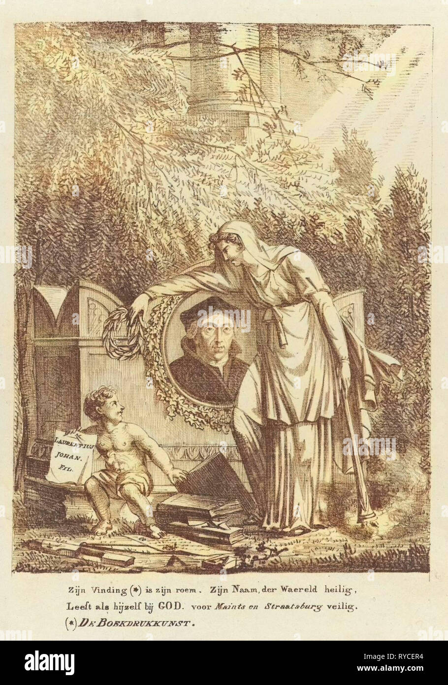 Allegorical tomb Laurens Jansz. Coster, 1823, Pieter Bartholomeusz. Barbiers, 1823 - Stock Image