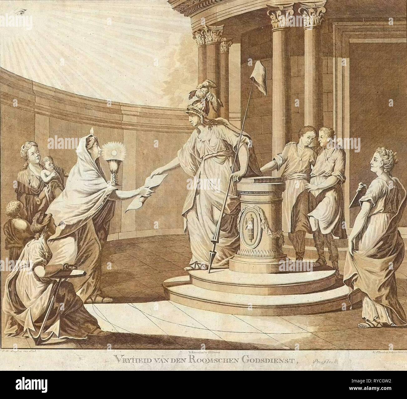 Allegory equating the Roman Catholic religion with other denominations, 1799, print maker: Carel Frederik Bendorp I, Pieter Luyten, G.J. Derens, 1799 - Stock Image