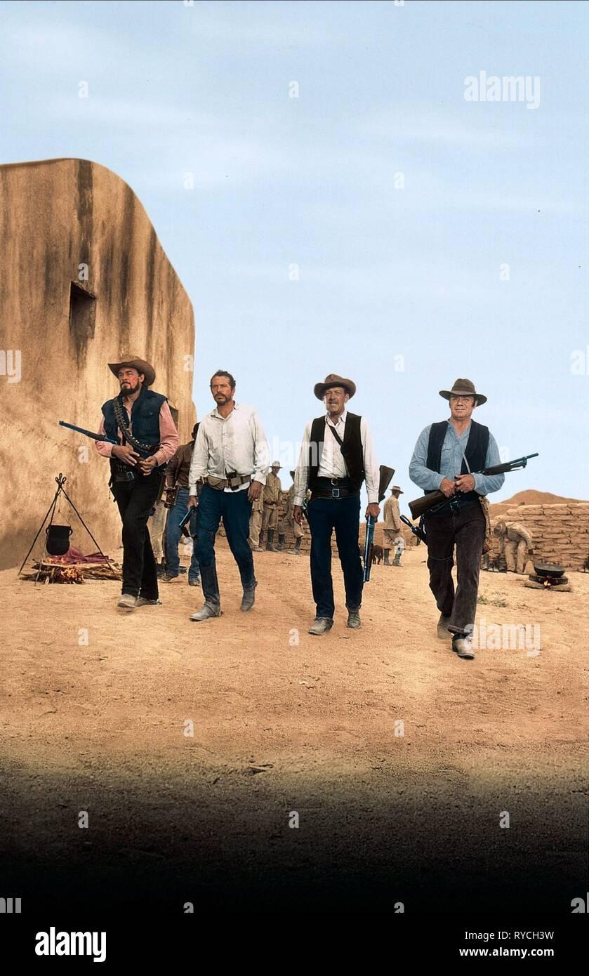 WARREN OATES, BEN JOHNSON, WILLIAM HOLDEN,ERNEST BORGNINE, THE WILD BUNCH, 1969 - Stock Image