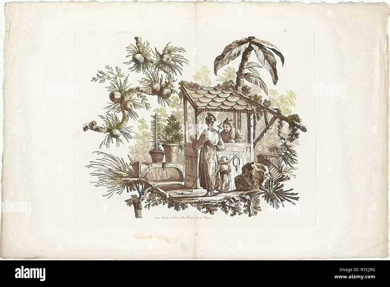 China, Chinese houses and people, I. Pillement inv. F.A. Aveline sc. Londen by I. Pillement, a Paris chez Basan. Francois Antoine Aveline, Jean Baptiste Pillement, Jean Baptiste Pillement, 1728 - 1780 - Stock Image