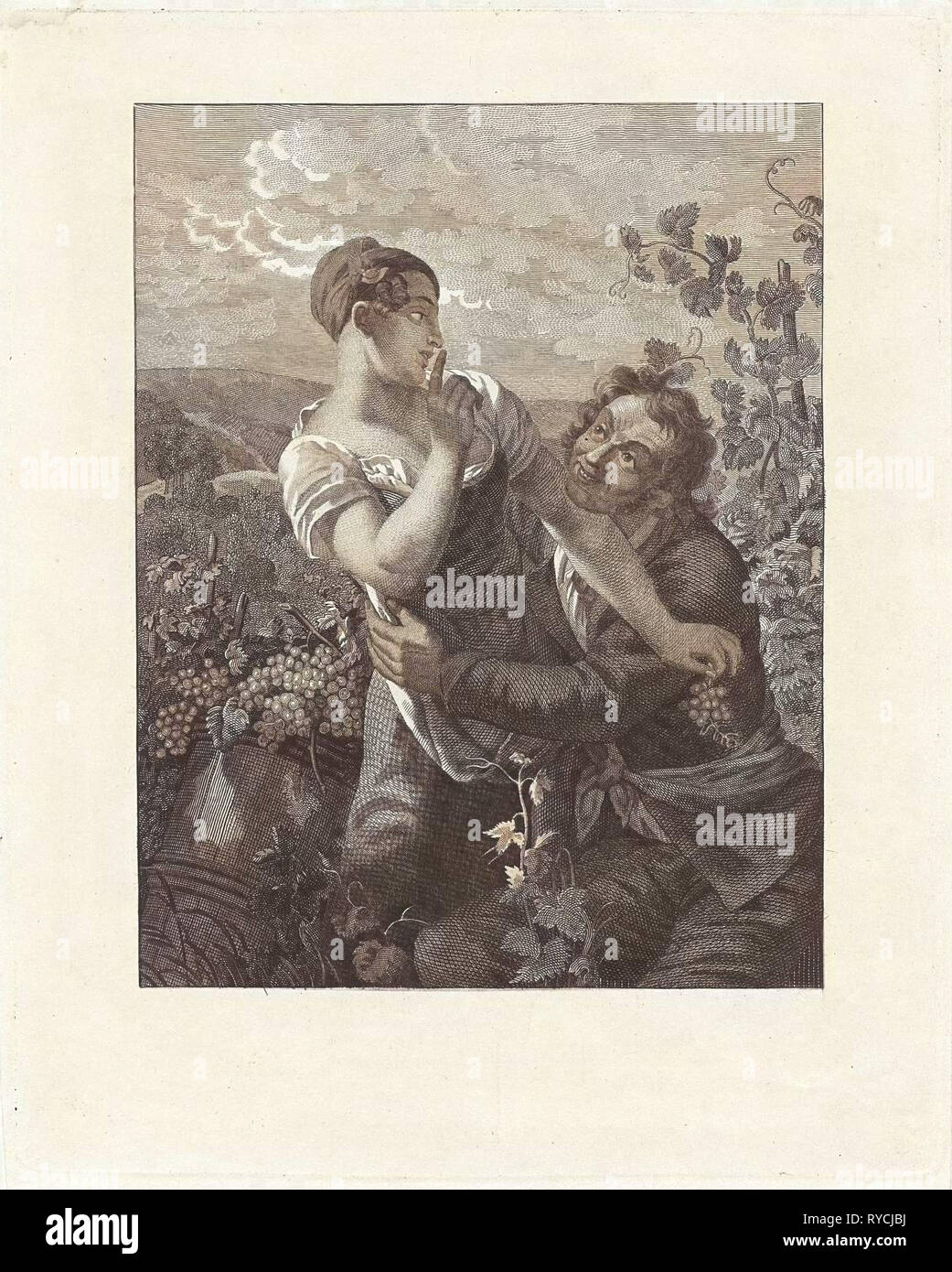 Courting couple in a vineyard, Anonymous, Peter Paul Joseph Noël, 1817 - 1867 - Stock Image