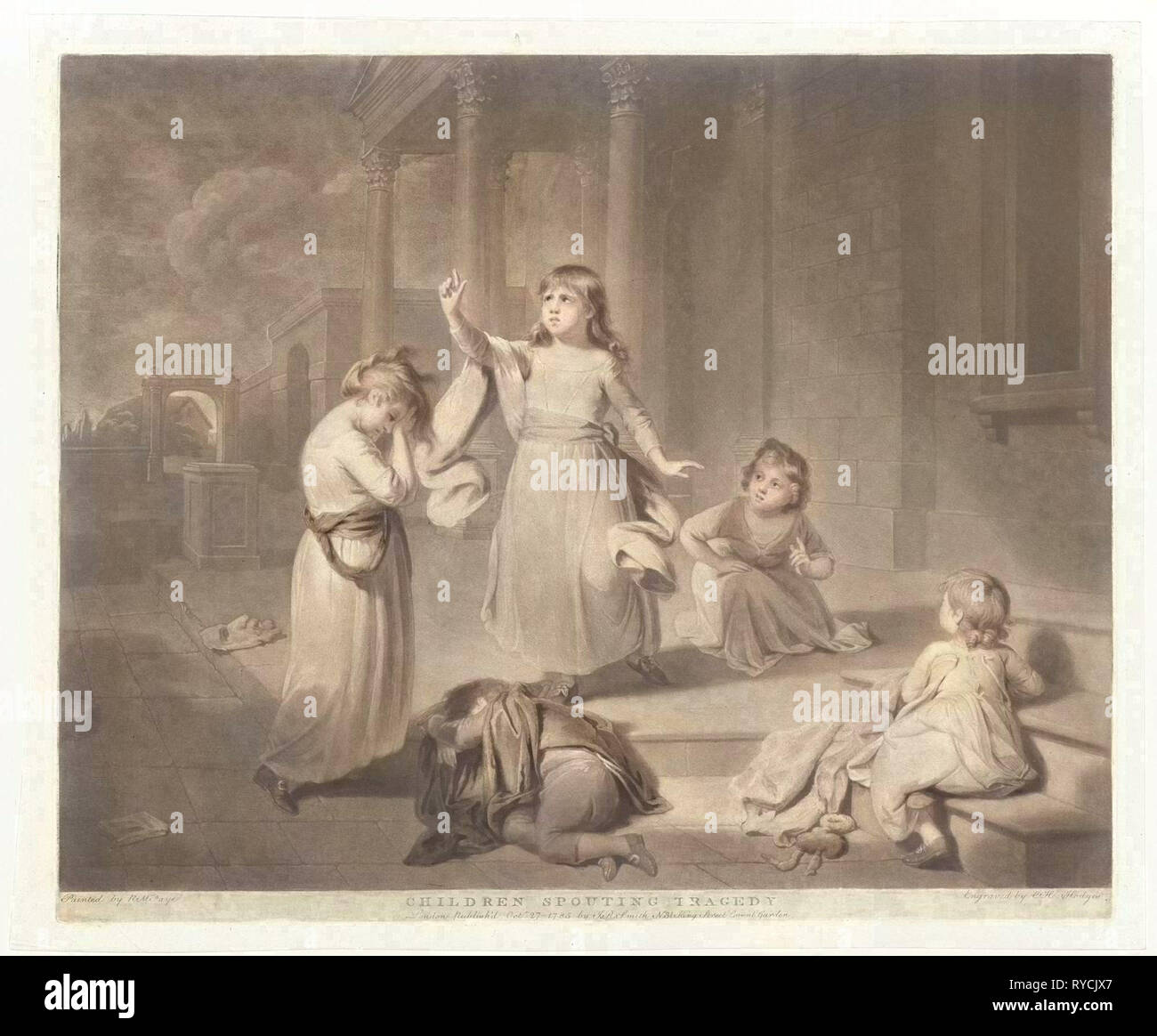 Children play a tragedy, Charles Howard Hodges, John Raphael Smith, 1785 - Stock Image