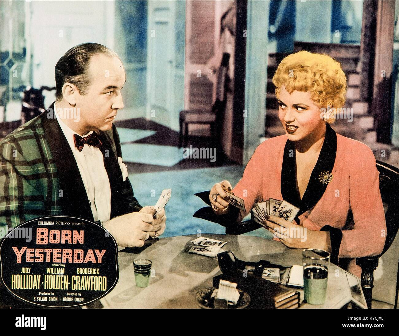BRODERICK CRAWFORD, JUDY HOLLIDAY POSTER, BORN YESTERDAY, 1950 - Stock Image