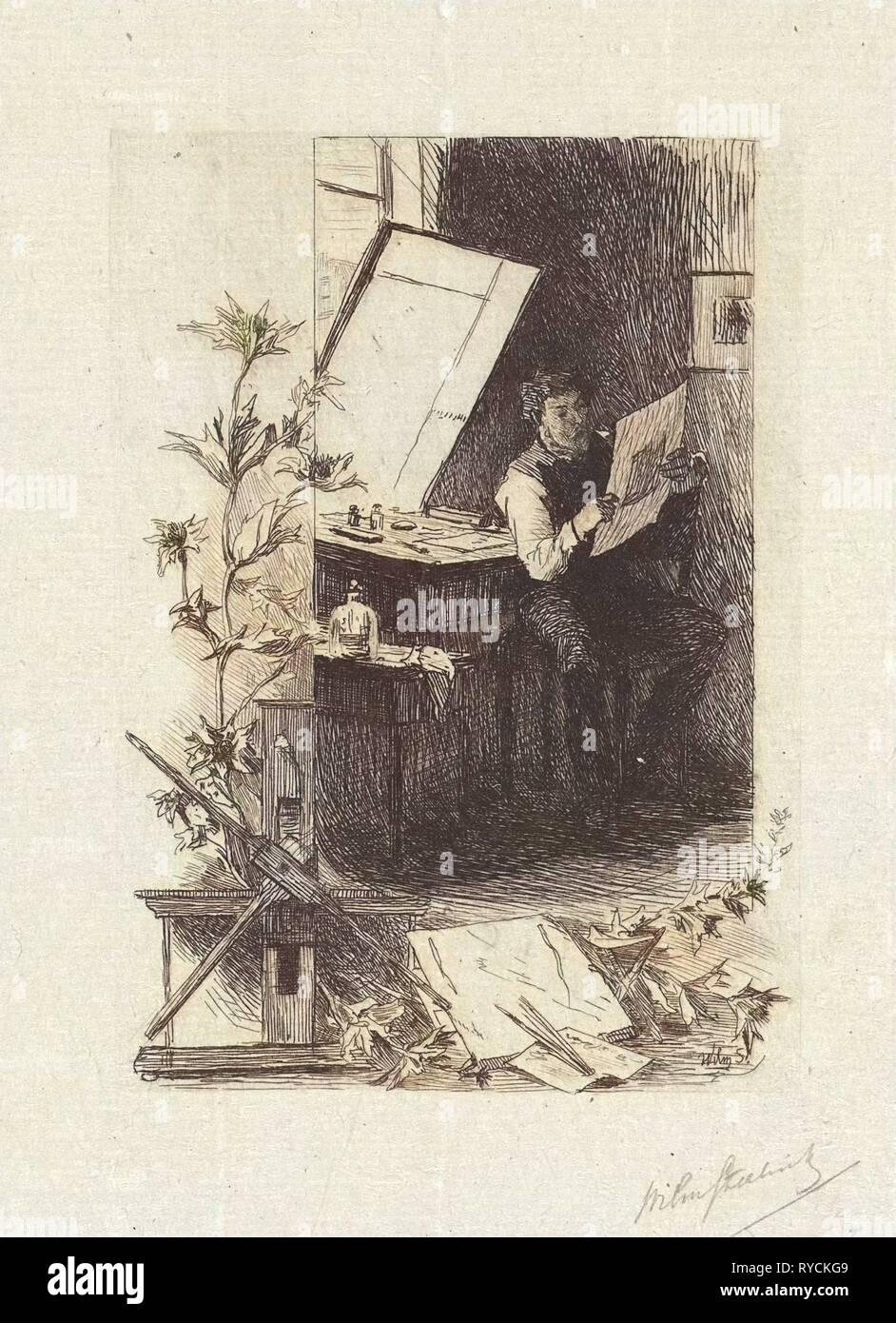 Print Maker in his workshop, Willem Steelink (II), 1866 - 1928 - Stock Image