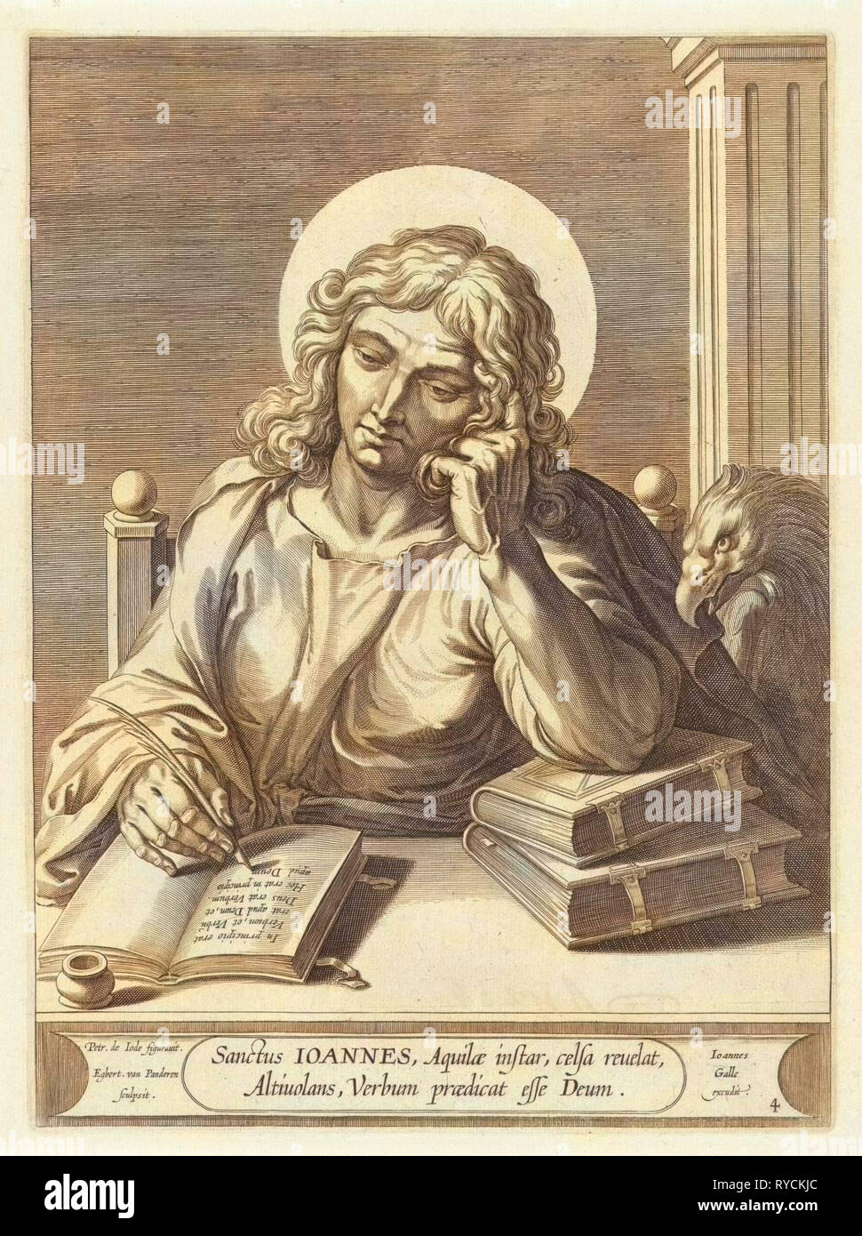 Evangelist John, print maker: Egbert van Panderen, Pieter de Jode I, Joannes Galle, c. 1590 - 1637 - Stock Image