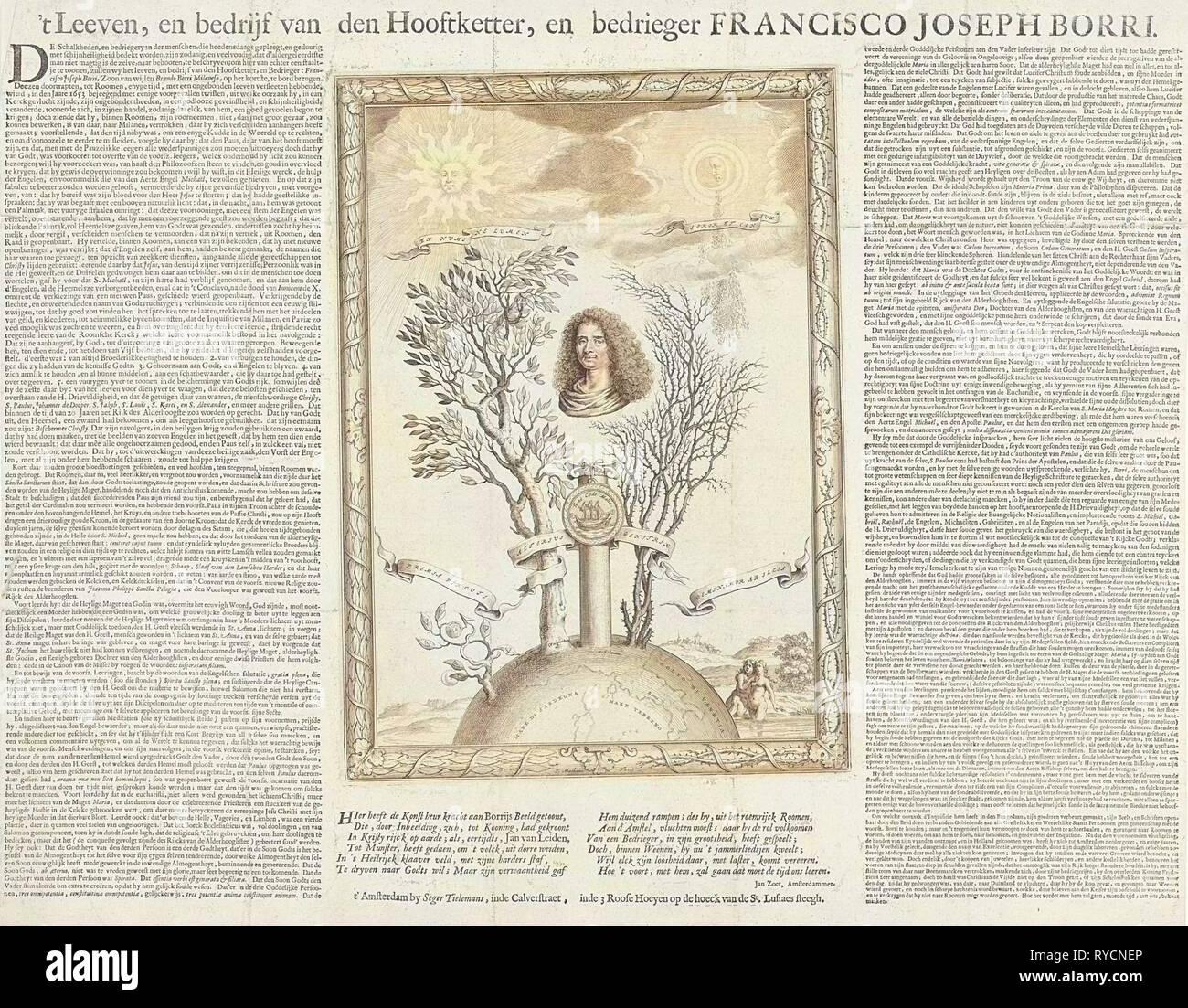 Allegory with the portrait of Gioseppe Francesco Borri, print maker: Theodor Matham, Jan Zoet falsification of, Seger Tielemans, 1662 - 1666 - Stock Image