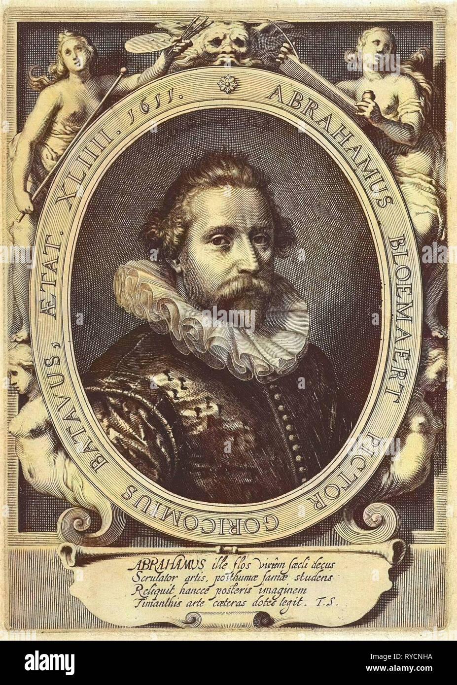 Portrait of Abraham Bloemaert, Willem Isaacsz. van Swanenburg, Theodorus Schrevelius, 1611 - Stock Image