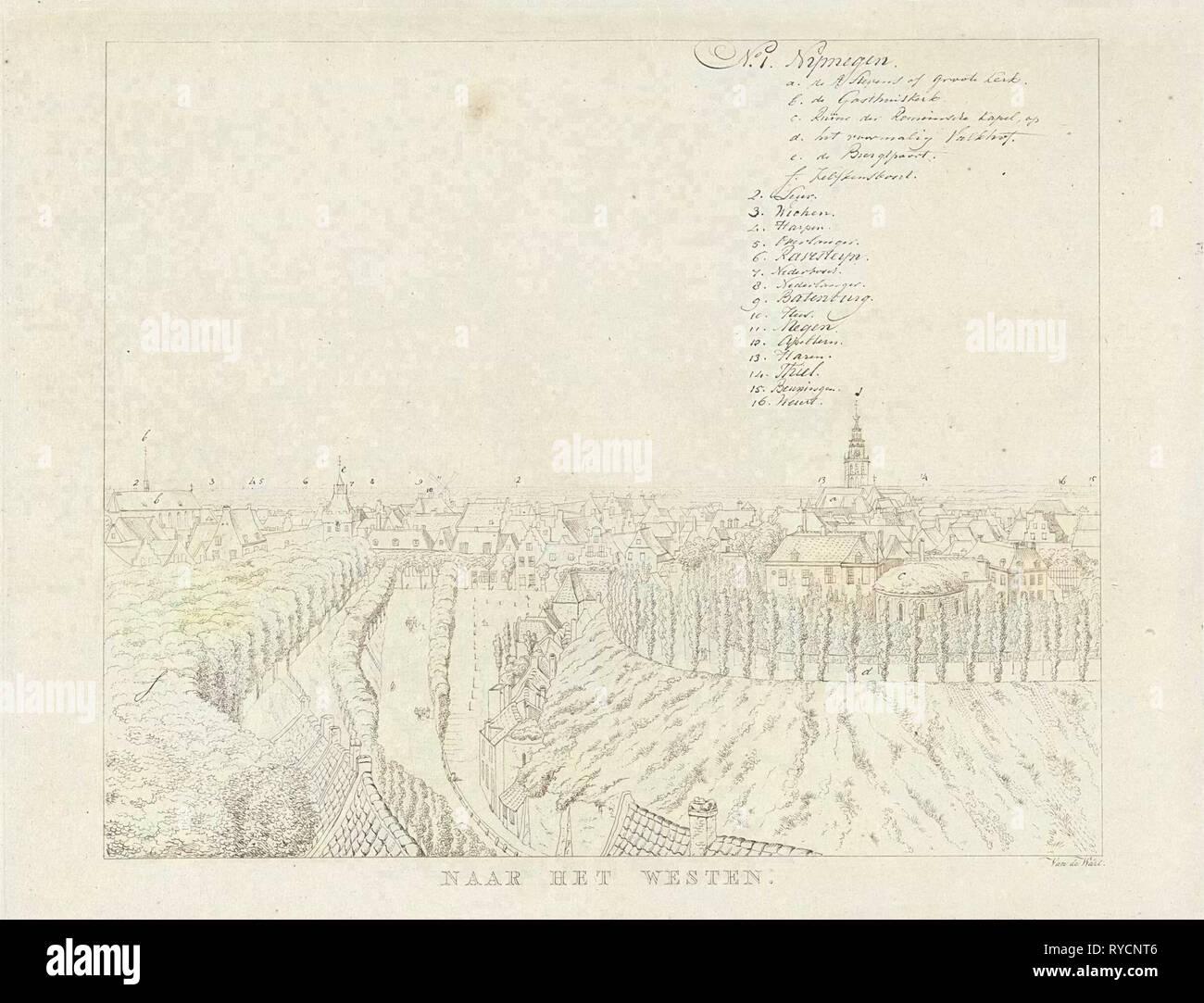 View of the western city of Nijmegen, The Netherlands, print maker: Derk Anthony van de Wart, 1815 - 1824 Stock Photo