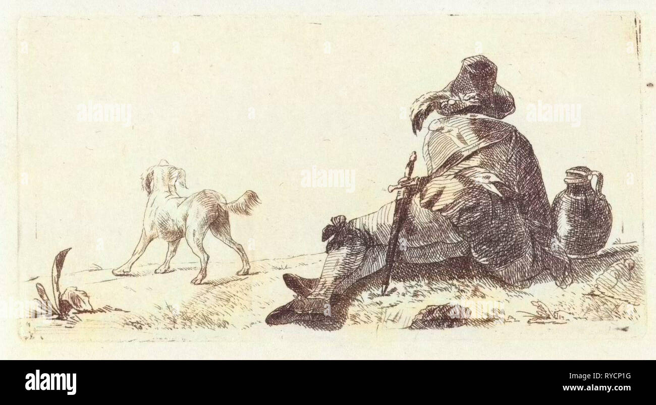 Man with dog, Paulus Charles Gerard Poelman, 1803 - 1846 - Stock Image