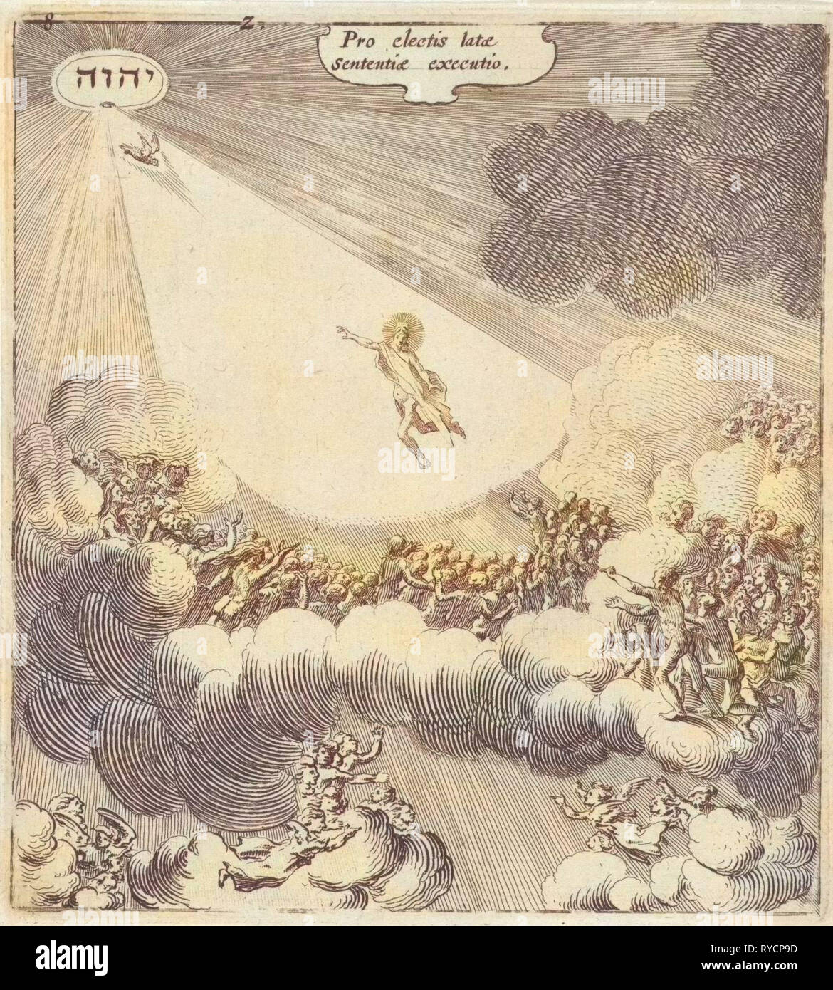 The elect are with the help of angels, back to Christ, directed upwards, print maker: Gillis van Scheyndel (I), Dating 1625 - Stock Image
