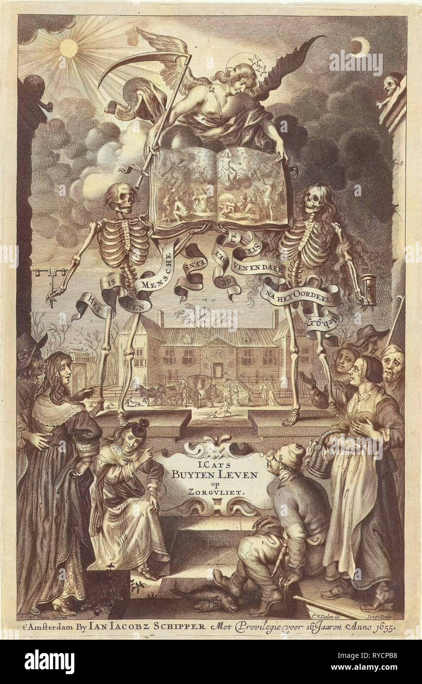 City People and peasants watching two skeletons and angel with book open by presentation of final judgment, Cornelis van Dalen II, Jan Jacobsz Schipper, unknown, 1655 Stock Photo