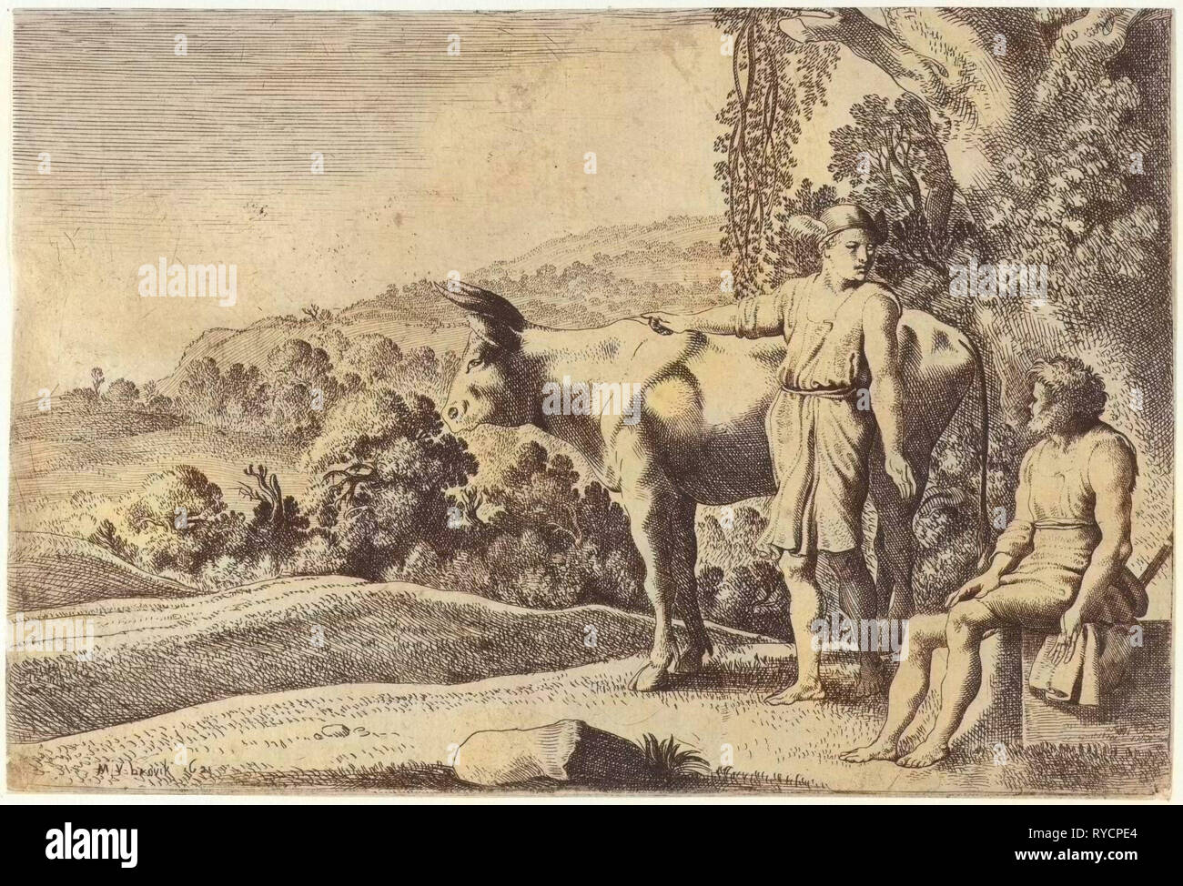 Mercury is pointing to the cow Io and looks at Argus, which sits on a stone block, scene from Ovid's Metamorphoses, Met. I, 679-688, print maker: Moyses van Wtenbrouck (mentioned on object), Dating 1621 - Stock Image
