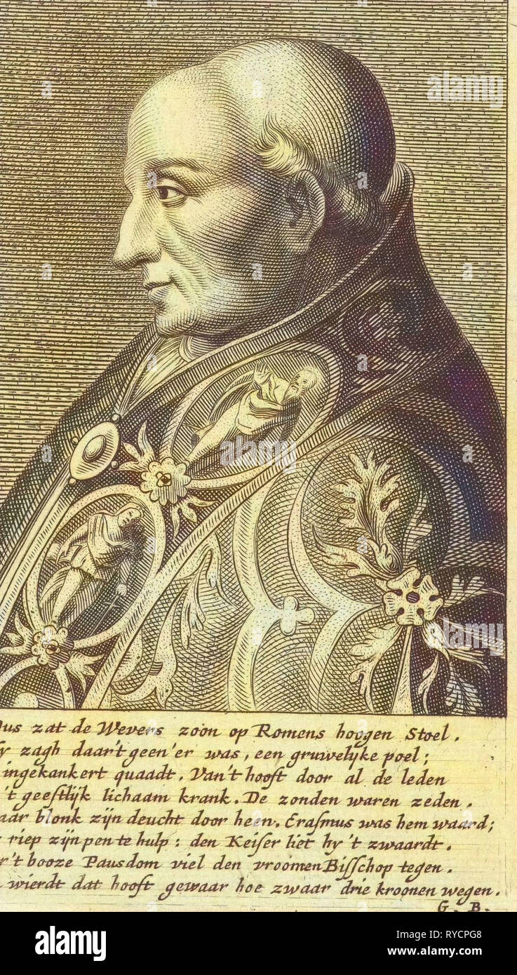 Portrait Bust of Pope Adrian VI with a richly ornamented robe, print maker: Hendrik Bary, Dating 1657 - 1707 - Stock Image