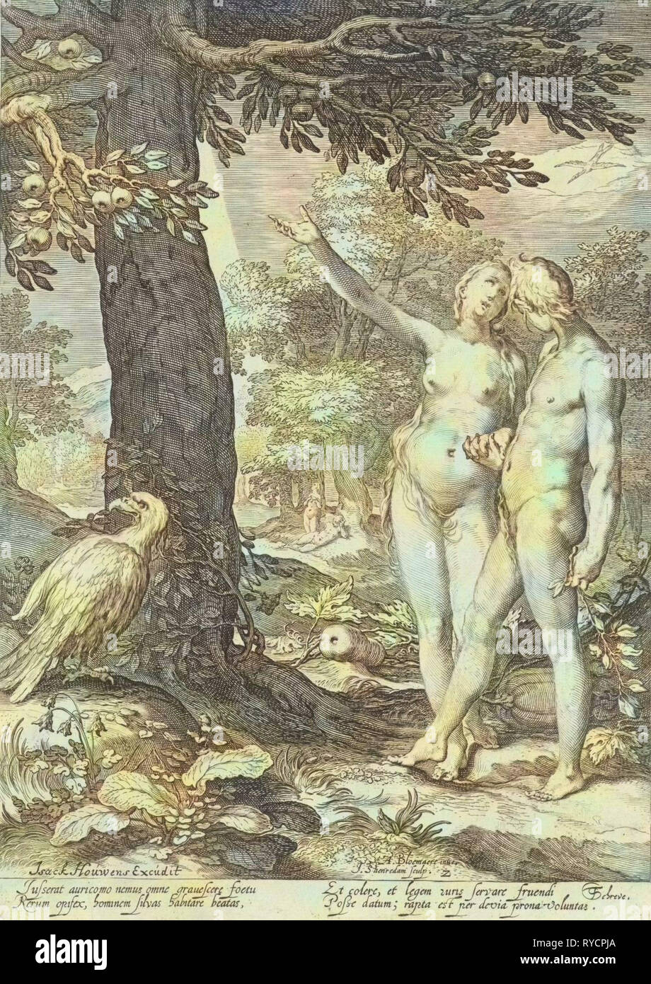 Adam and Eve before the Tree of Knowledge of Good and Evil, print maker: Jan Saenredam, Abraham Bloemaert, Isack Houwens, 1604 and/or 1690 - 1750 - Stock Image