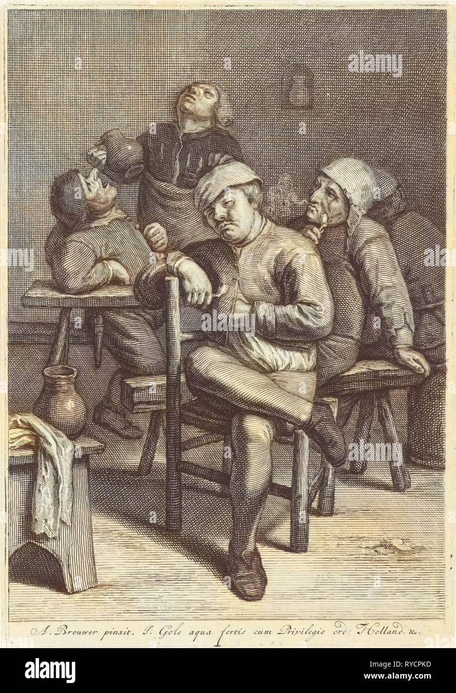 Tavern Scene with smoking farmers, Jacob Gole, Republiek der Zeven Verenigde Nederlanden, 1670 - 1724 - Stock Image