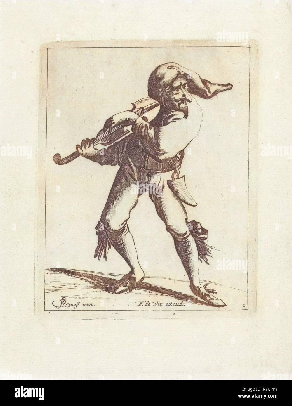 Jester with a violin, print maker: Pieter Jansz. Quast, Frederik de Wit, 1639 - 1706 - Stock Image