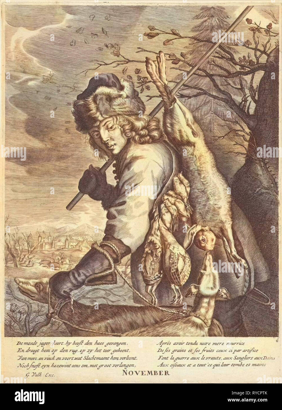 November: a hunter with his booty, Anonymous, Reinier van Persijn, Joachim von Sandrart, 1670 - 1726 - Stock Image