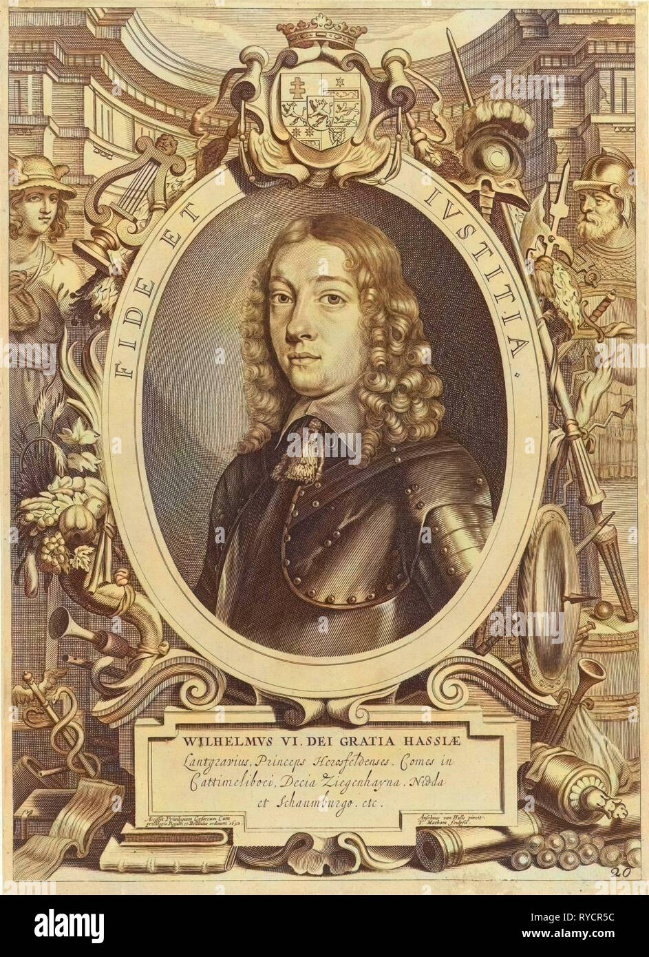 Portrait of William VI, Landgrave of Hesse-Kassel, in an allegorical frame, Mercury and attributes including winch, caduceus and cornucopia, a second allegorical figure (Jupiter?) With attributes like war lance, shield, helmet and a thunderbolt, print maker: Theodor Matham (mentioned on object), Dating 1652 and/or 1717 - Stock Image