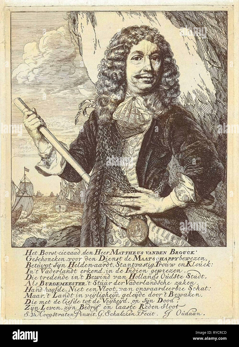 Portrait of the Dordrecht mayor and Admiral Mattheus van den Broucke chest with a jewel and a baton, behind him, a rock wall and a choppy sea with a fleet, print maker: Godfried Schalcken (mentioned on object), Dating 1660 - 1680 - Stock Image