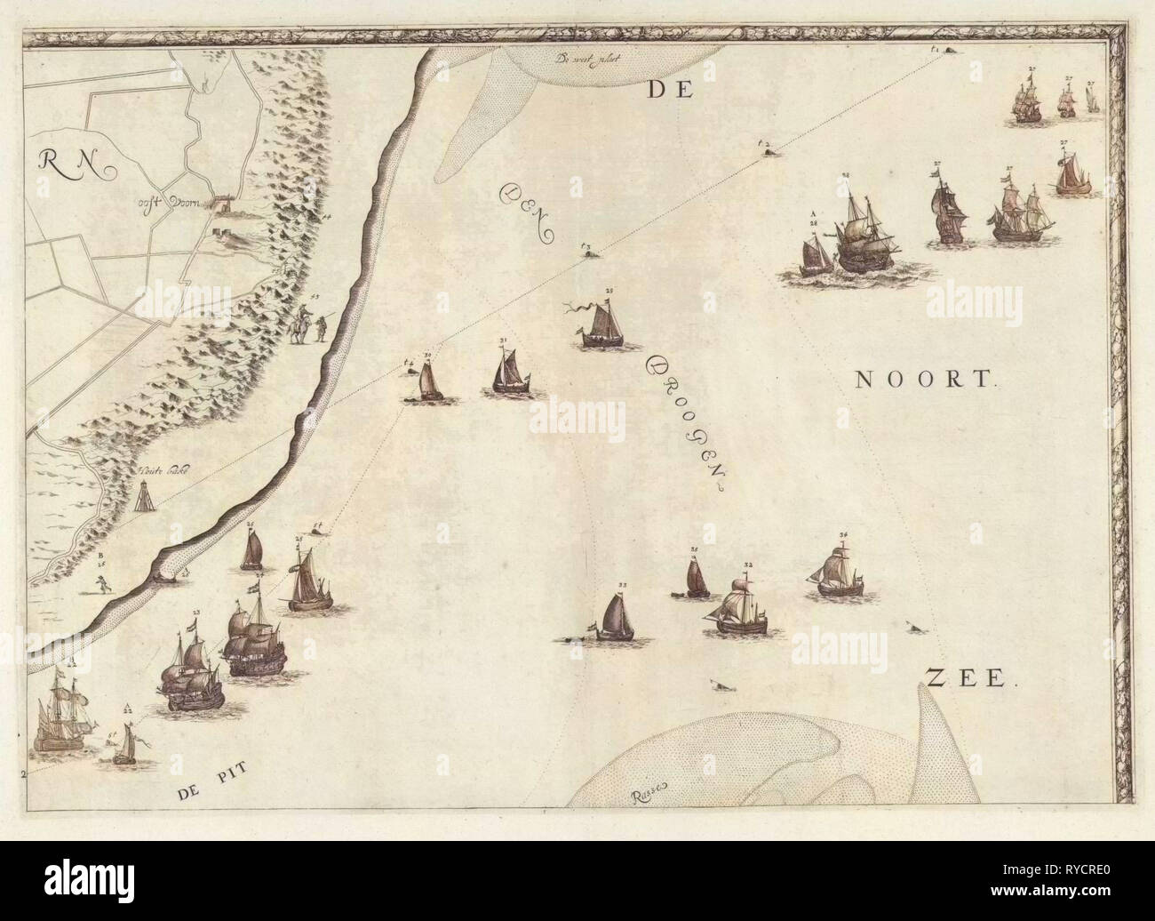 Map of the North Sea and the coast of Holland, Jacob Quack, 1665 - Stock Image