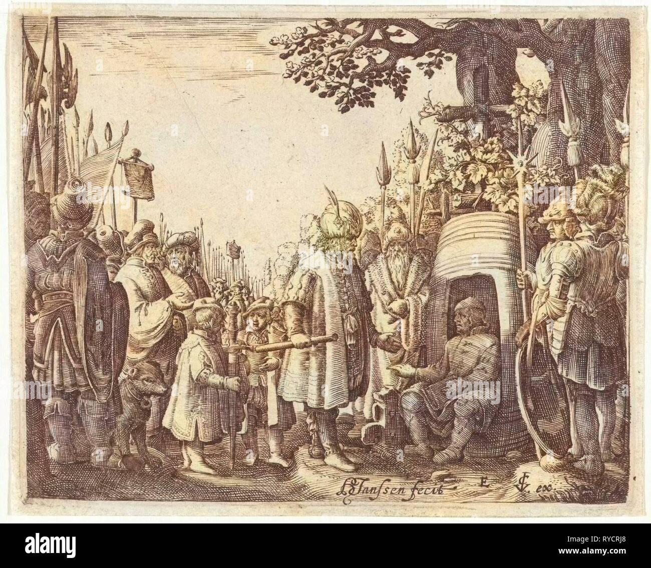 Alexander the Great and Diogenes, Hans Janssen, Claes Jansz. Visscher (II), 1615 - 1651 - Stock Image