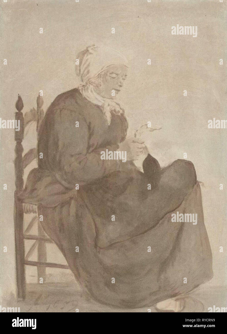 Old Woman Reading, Jurriaan Cootwijck, Gabriël Metsu, 1760 Stock Photo