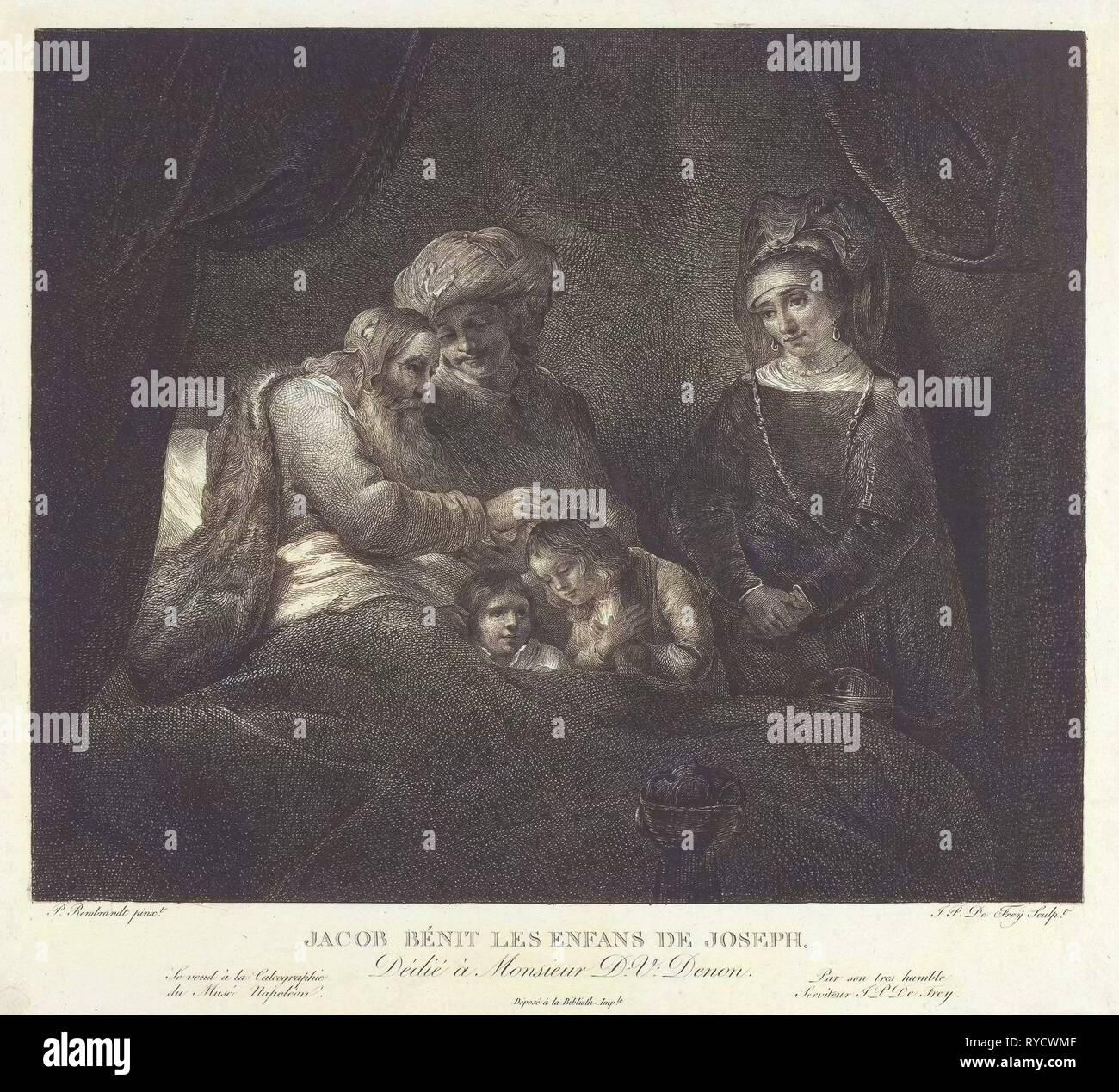Jacob blesses Ephraim and Manasseh, Johannes Pieter de Frey, D.V. Denon, 1780 - 1834 - Stock Image