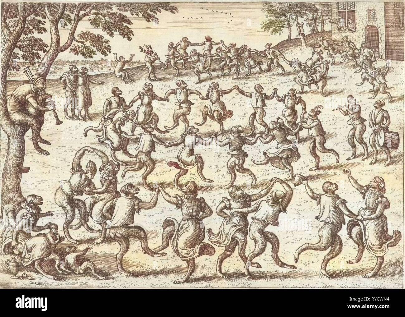 Round Dance, Pieter van der Borcht (I), Philips Galle, 1545 - 1608 - Stock Image