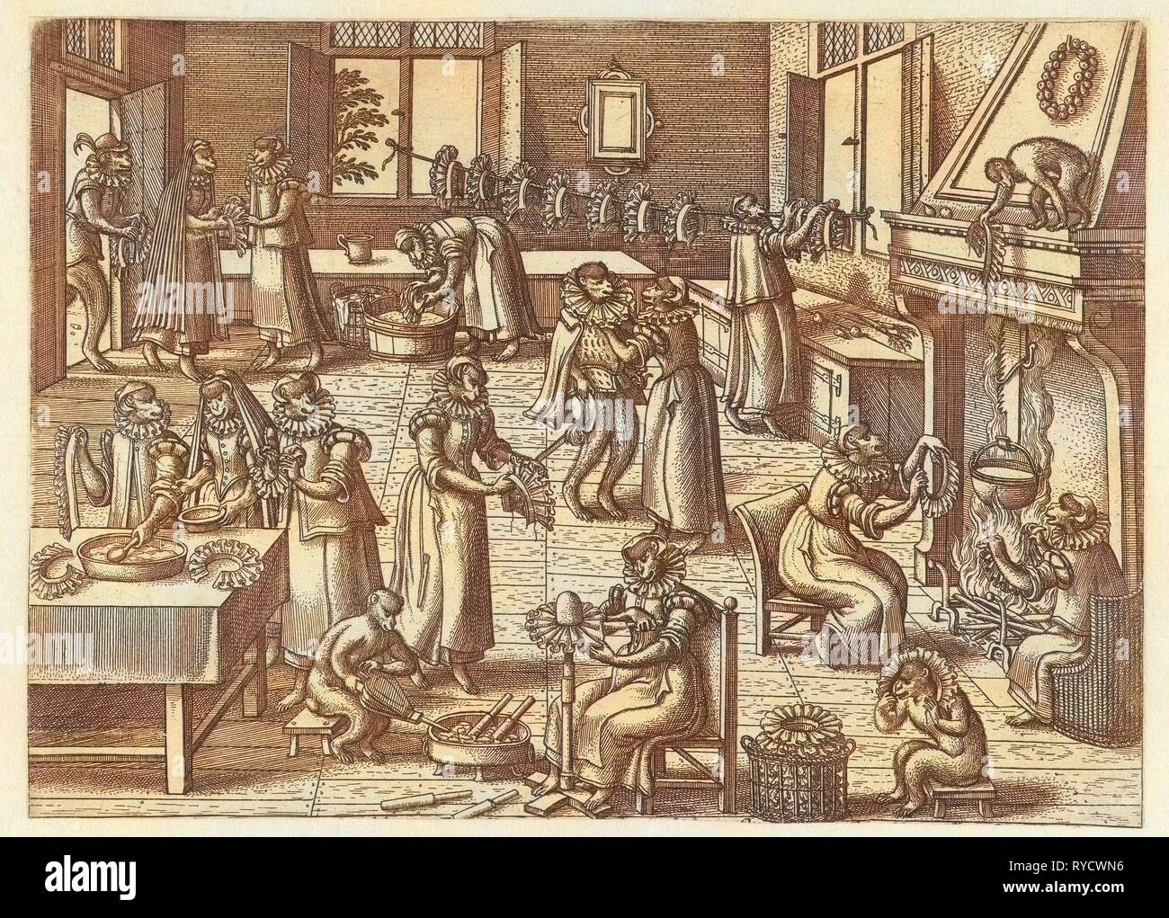 Collar Workshop, Pieter van der Borcht (I), Philips Galle, 1545 - 1608 - Stock Image