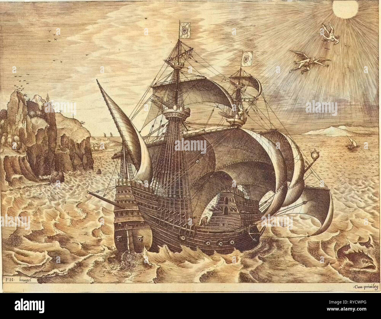 Sailing ship with the Fall of Icarus, Frans Huys, unknown, 1561-1565 - Stock Image