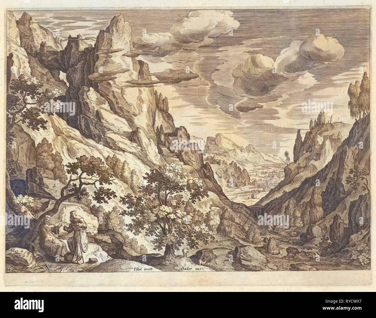 Landscape with the Temptation of Christ in the desert, Johann Sadeler I, 1580-1600 - Stock Image